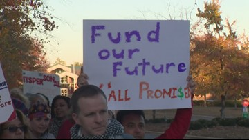 North Carolina teachers protest for better pay