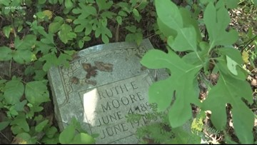 Neglected African-American cemetery overgrown with weeds, littered with garbage