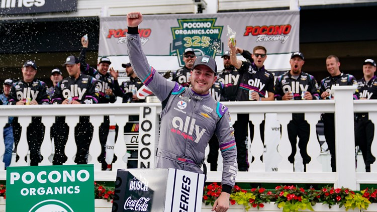 Bowman zips past Larson after late flat and wins at Pocono