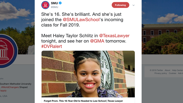 She's heading to law school at SMU – and she's only 16