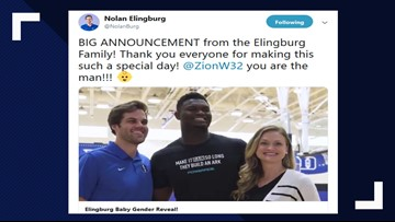 Zion Williamson's one-handed dunk reveals gender of couple's baby