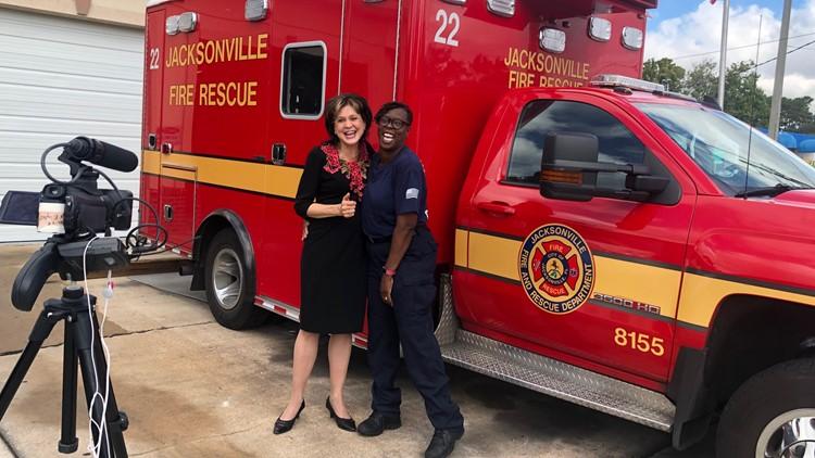 FCN Anchor Jeannie Blaylock with survivor Sue Horton