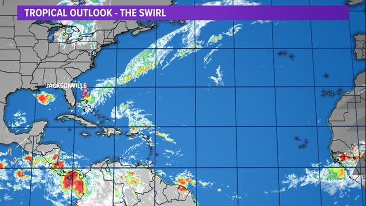 Tropics: The weak tropical swirl meandering on  SC coast