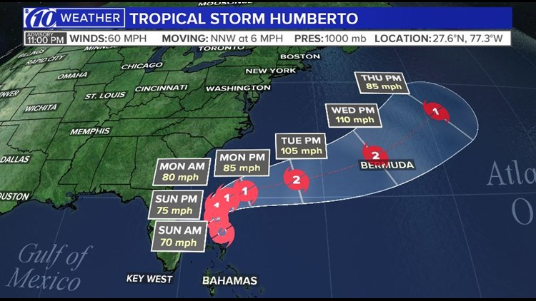 Tropical Storm Humberto forecast to strengthen
