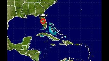 Emily weakens as it moves across Florida