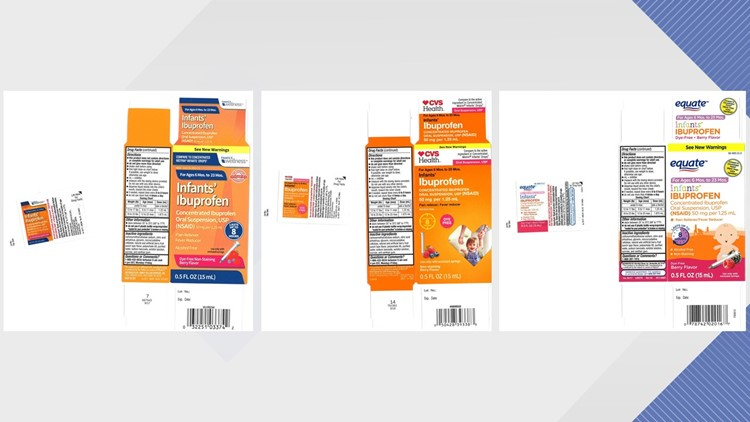 Infant liquid ibuprofen sold at Walmart, CVS and Family Dollar recalled