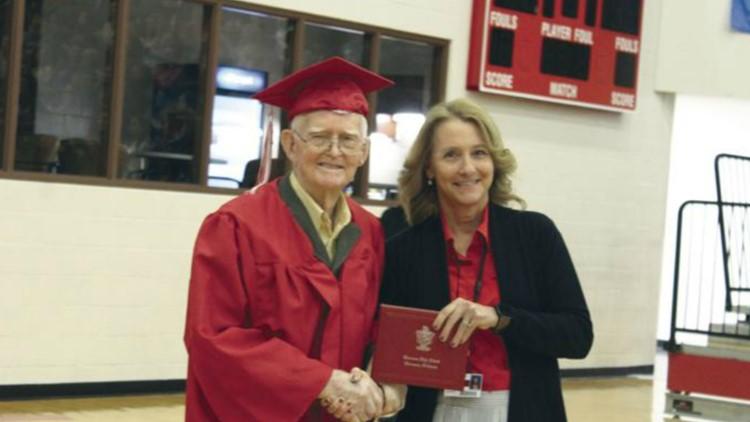 95-year-old veteran receives high school diploma