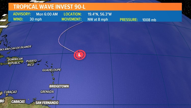 Medium chance for Invest 90L to develop in the central Atlantic