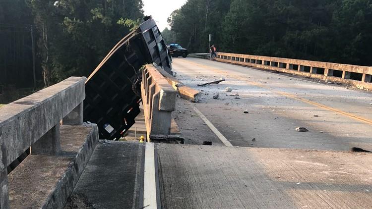 Truck crashes into bridge over Georgia highway, shifting it six feet